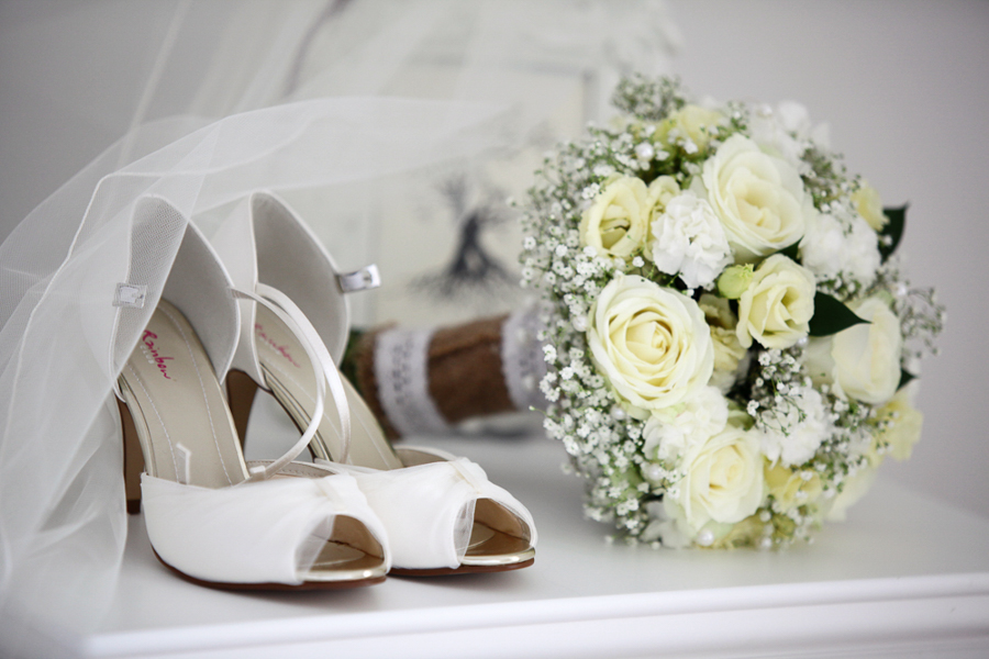 brides flowers and shoes